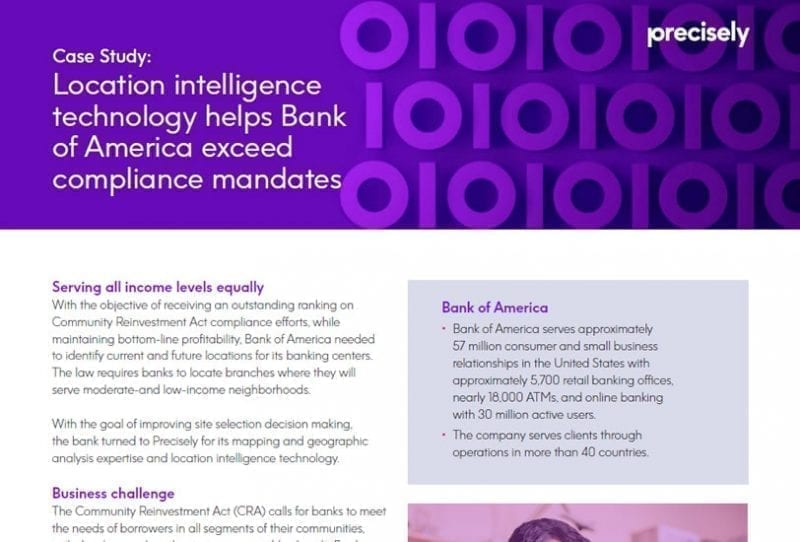 Bank of America exceeds compliance mandates with location intelligence