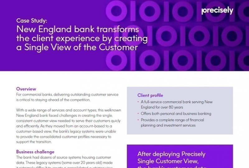 New England bank transforms the client experience by creating a Single View of the Customer
