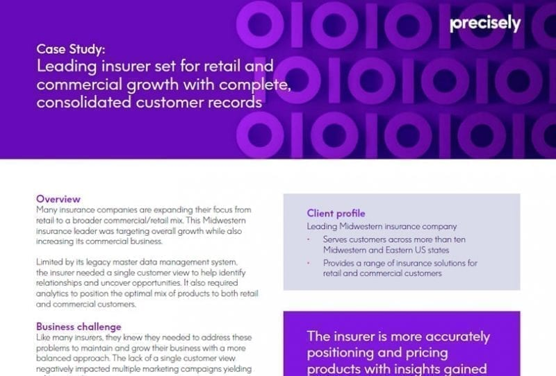 Leading insurer set for retail and commercial growth with complete, consolidated customer records