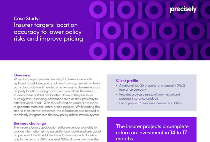 Property and Insurance Company Uses Geolocation Accuracy to Lower Policy Risks and Improve Pricing