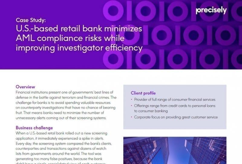 U.S.-based retail bank minimizes AML compliance risks while improving investigator efficiency