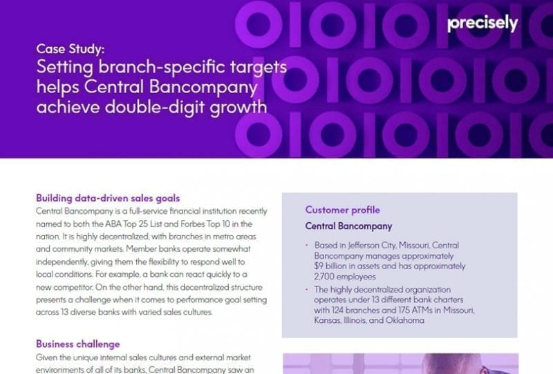Central Bancompany Achieves Double-Digit Growth by Setting Bank Targets