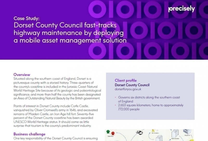 Dorset County Council fast-tracks highway maintenance by deploying a mobile asset management solution