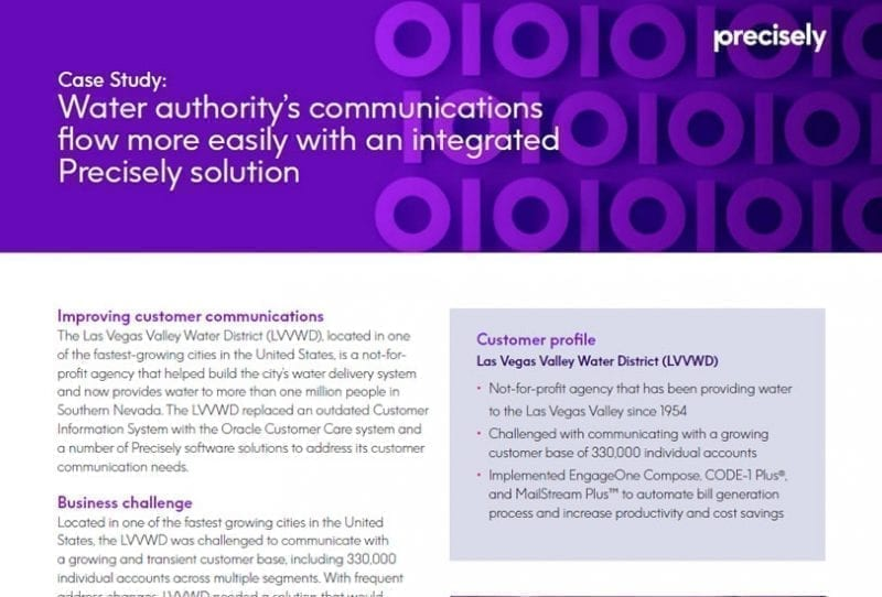Water authority's communications flow more easily with an integrated Precisely solution