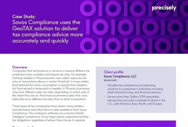 Sovos Compliance Uses The GeoTAX Solution to Deliver Tax Compliance Advice Accurately and Quickly