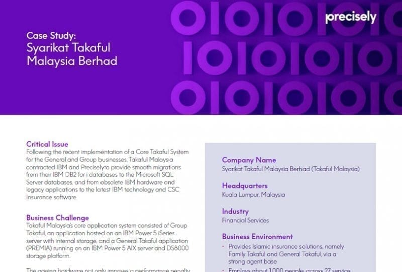 Precisely technology has a direct benefit for Takaful Malaysia's customers