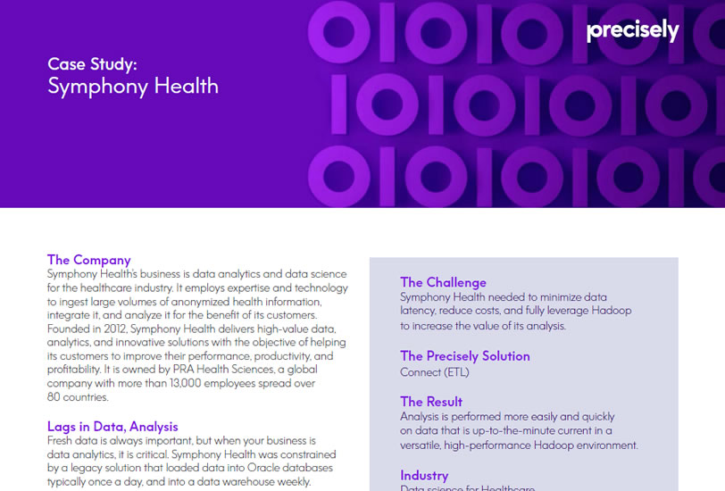 Symphony Health needed to minimize data latency, reduce costs, and fully leverage Hadoop to increase the value of its analysis.