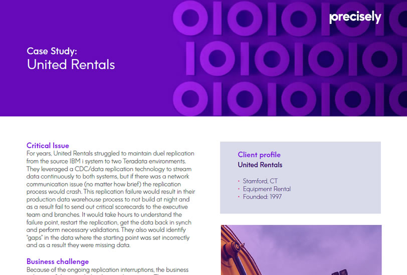 Integrating the Connect solution with our Teradata environment was by far the best IT investment for United Rentals in many years