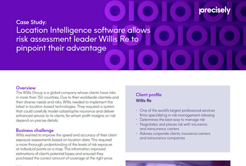 Willis RE Uses Location Intelligence for Insurance Catastrophe modeling