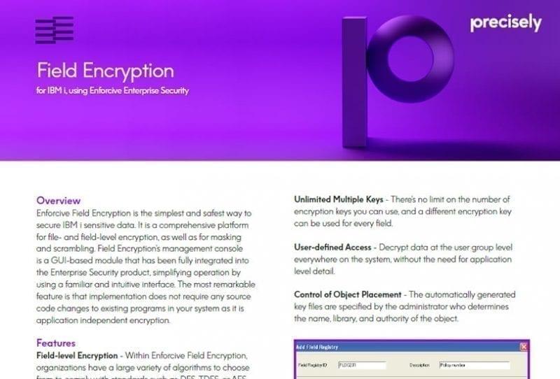 Field Encryption for IBM i, using Enforcive Enterprise Security