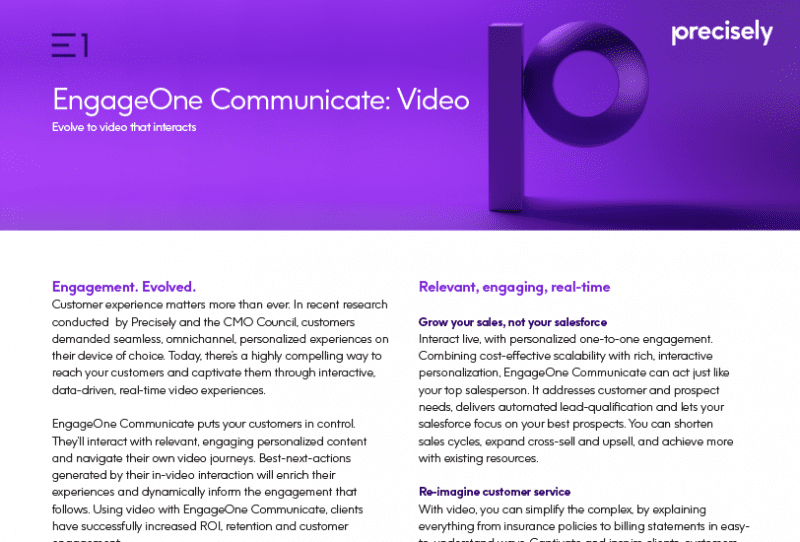 EngageOne Communicate Video from Precisely