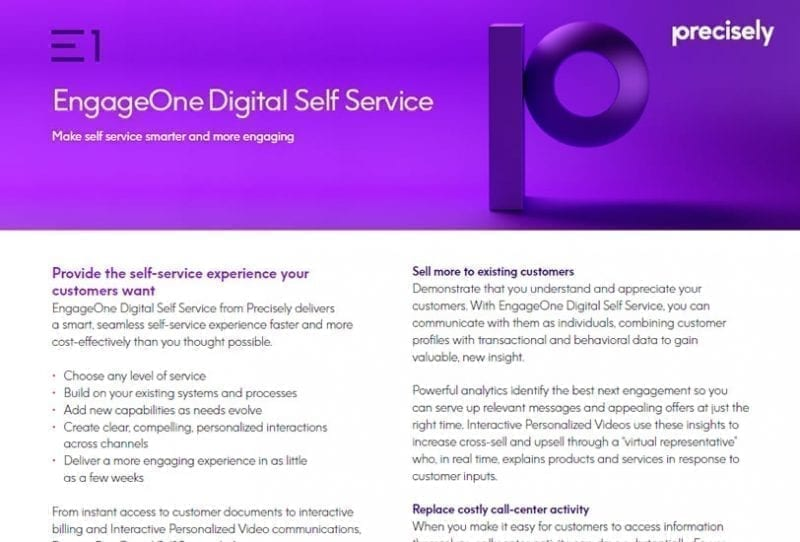 EngageOne Digital Self Service Brochure