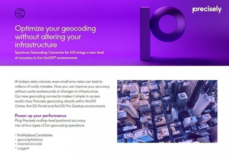 With the Spectrum Geocoding Connector for GIS it's easy to access, deploy, and utilize Precisely's geocoding within your Esri infrastructure.