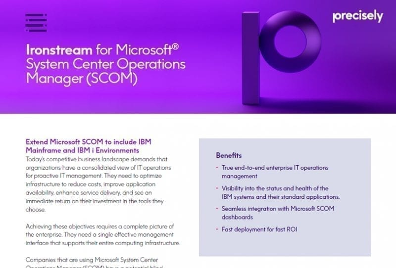 Ironstream for Microsoft System Center Operations Manager (SCOM)