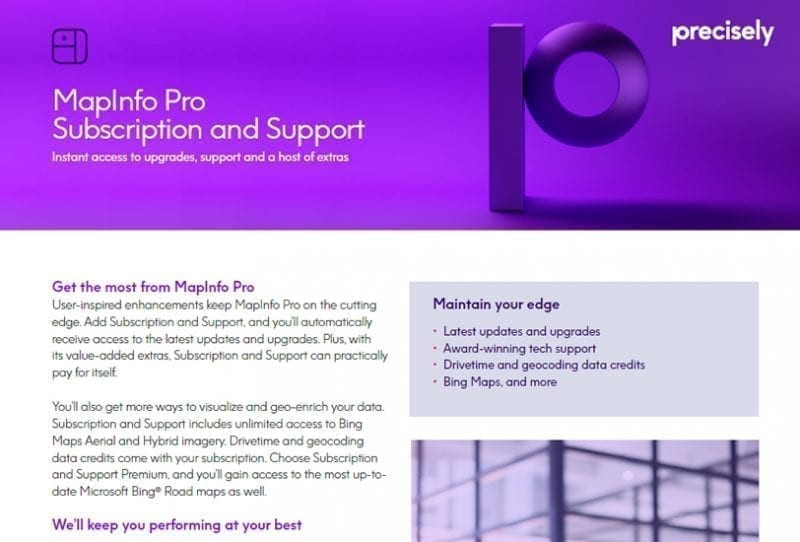 MapInfo Pro Subscription and Support