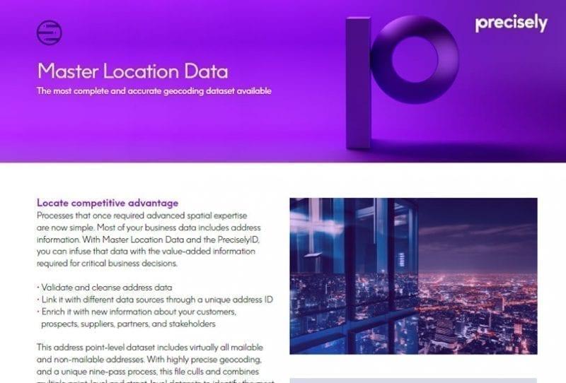 Master Location Data Product Sheet