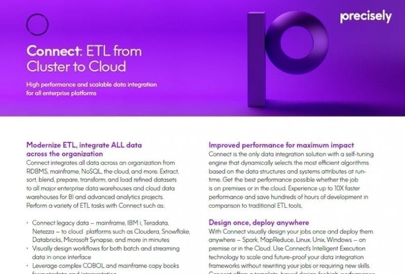 Precisely Connect ETL Capabilities