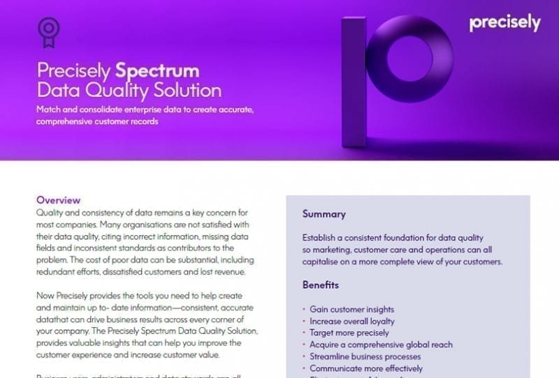 Precisely Spectrum Data Quality Solution