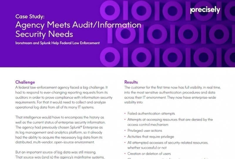 Agency meets audit/information security needs with Ironstream and Splunk