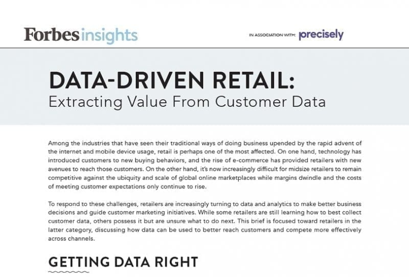 Data Driven Retail: Extracting Value From Customer Data