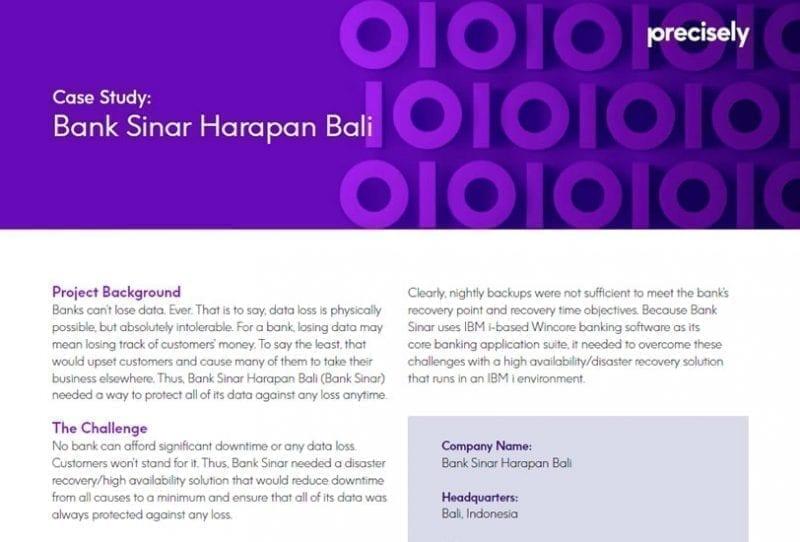 Bank Sinar Harapan Bali - Assure MIMIX HA Customer Story