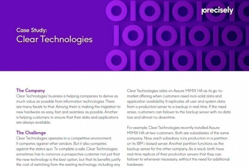 Clear Technologies - Assure MIMIX_HA Customer Story