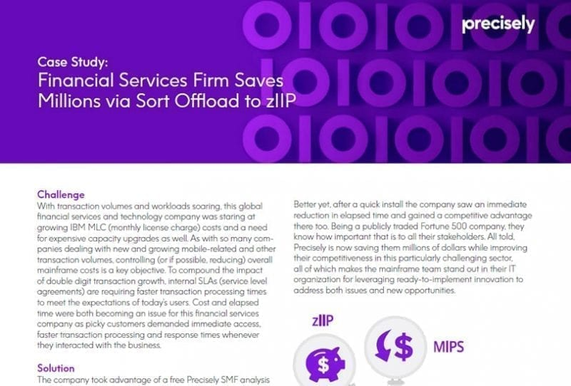 Financial Services Firm Saves Millions via Sort Offload to zIIP Case Study
