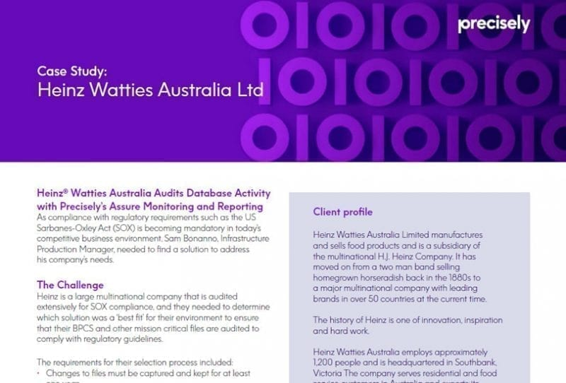 Heinze Watties Australia Audits Database Activity With Precisely's Assure Monitoring and Reporting