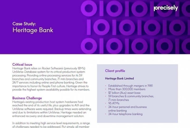 Heritage Bank Assure MIMIX Case Study