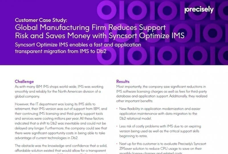 Manufacturing Firm Reduces Support Risk with Syncsort Optimize IMS