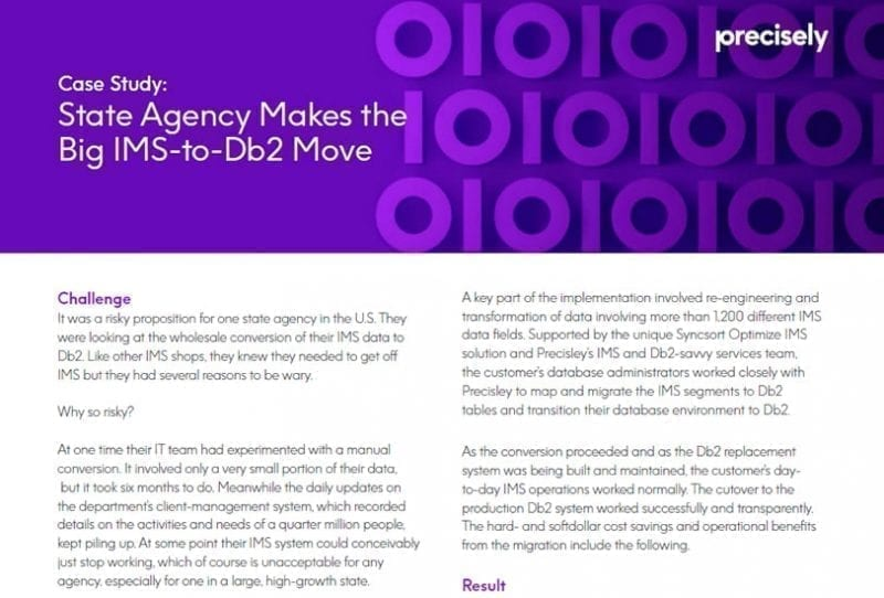 State Agency IMS-to-Db2 Transition - Precisely Syncsort Optimize IMS Case Study