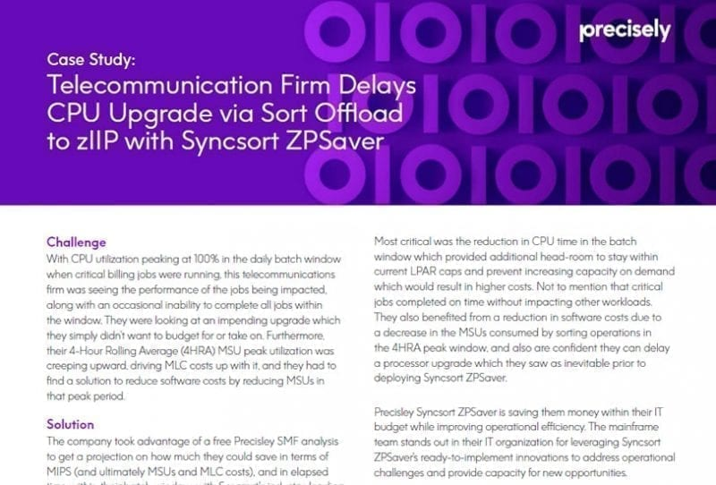 Telecommunication Firm Delays CPU Upgrade with Precisely Syncsort ZPSaver
