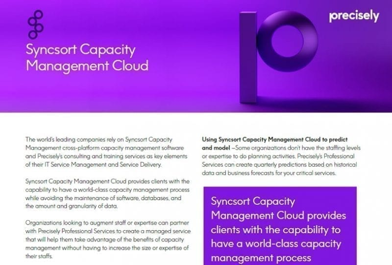 Syncsort Capacity Management Cloud Solution Sheet