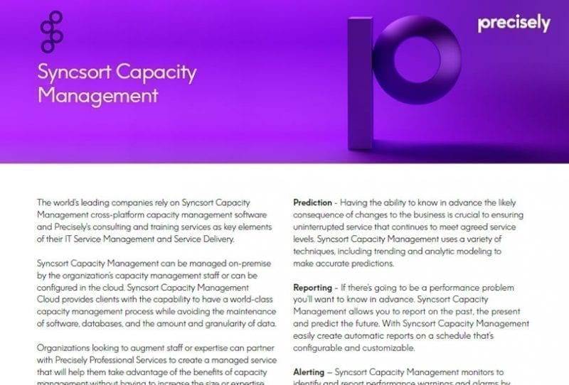 Syncsort Capacity Management Solution Sheet