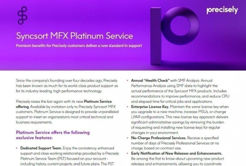 Syncsort MFX Platinum Service Solution Sheet
