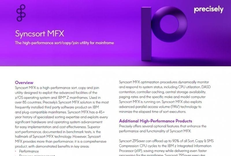 Syncsort MFX - the high performance sort/copy/join utility for mainframe