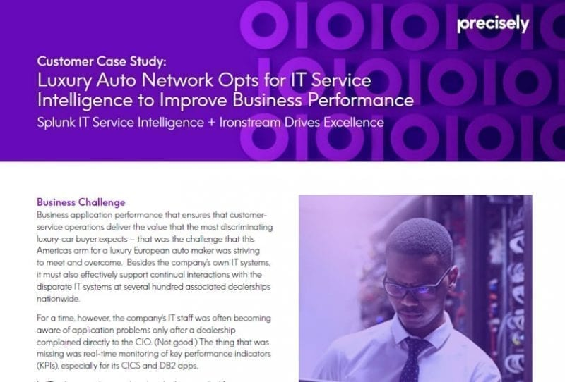 Auto Network Uses Ironstream and Splunk for IT Service Intelligene to Improve Business Performance