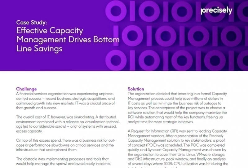 Effective Capacity Management Drives Bottom Line Savings