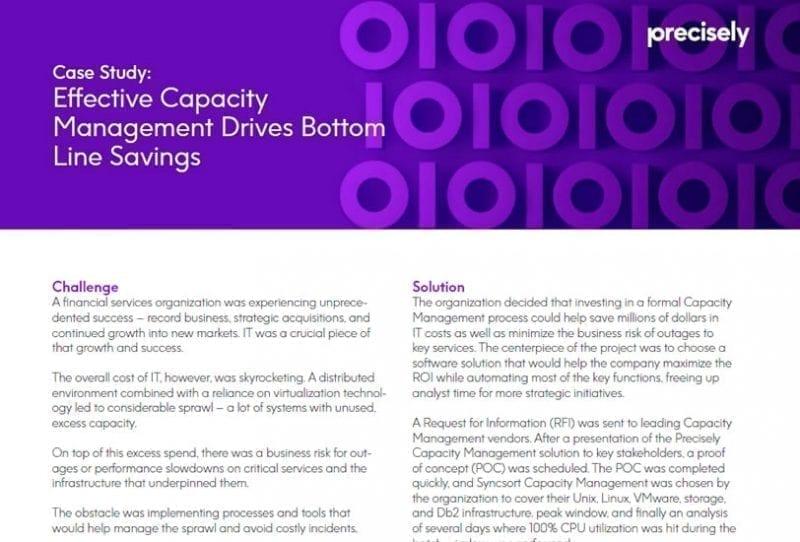Effective Capacity Management Drives Bottom Line Savings