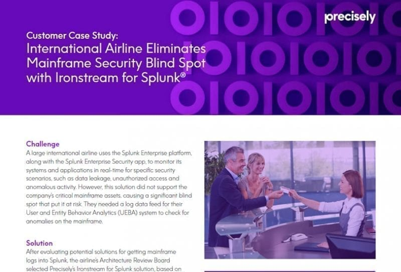 International Airline Eliminates Mainframe Security Spot with Ironstream for Splunk