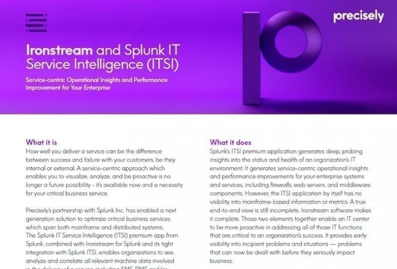 Ironstream IT Service Intelligence