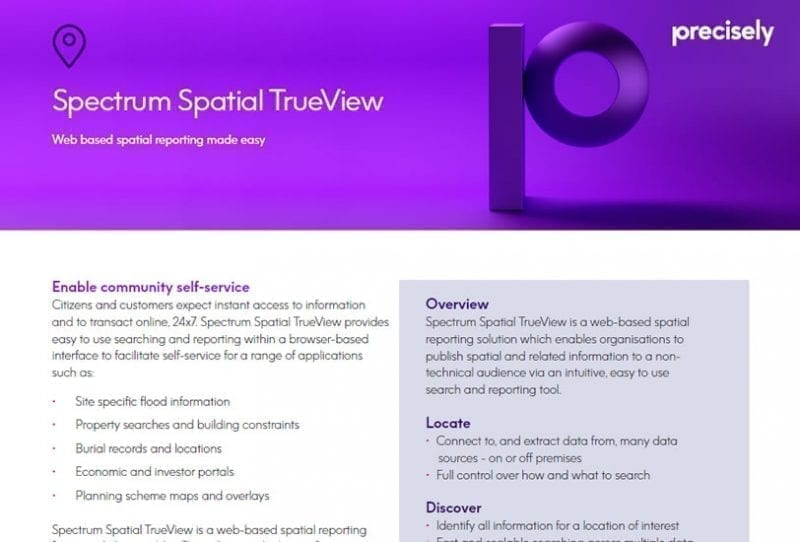 Spectrum Spatial TrueView - Web based spatial reporting made easy