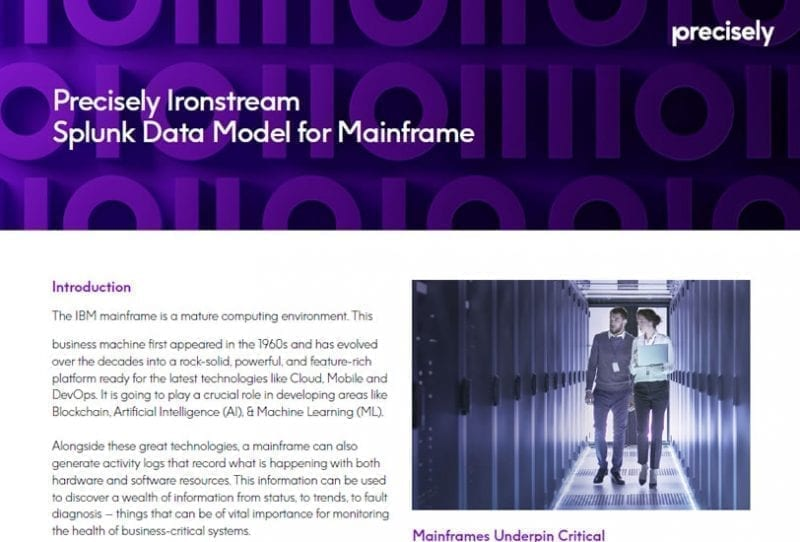 Precisely Ironstream Splunk Data Model for Mainframe
