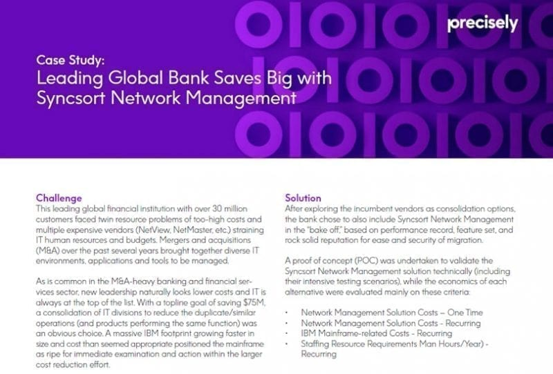 Leading Global Bank Saves Big with Syncsort Network Management