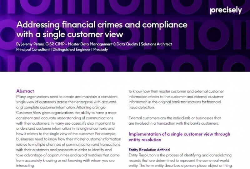 Addressing financial crimes and compliance