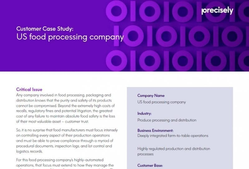 US food processing company - Customer Case Study