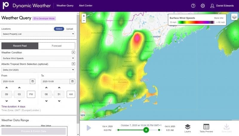 Visualize Data on a Map with Precisely's Dynamic Weather Tool