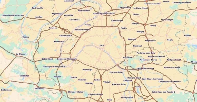 Francièmes Boundaries include cantons, communes, IRIS & postaux