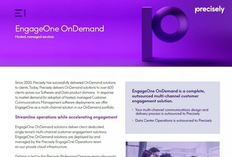 EngageOne OnDemand Solution Sheet from Precisely