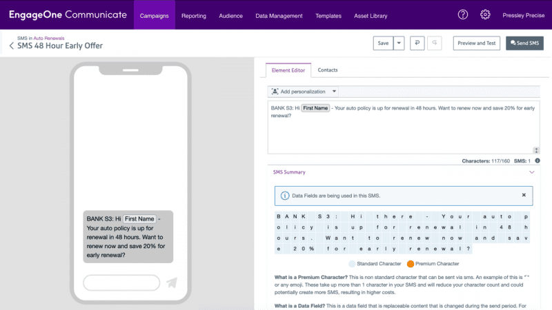 EngageOne Communicate: SMS Designer